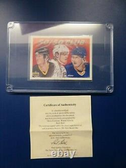 1991-92 Upper Deck Gretzky Hull and Lemieux Autograph on the same card COA