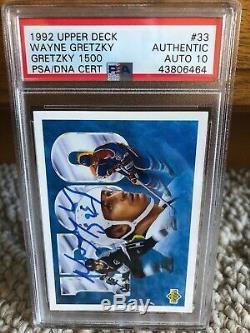 1992 Wayne Gretzky Upper Deck 1500 Auto Signed Autographed #33 PSA 10