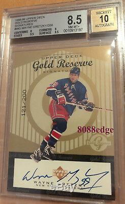 1998 Upper Deck Gold Reserve Signature Autowayne Gretzky #/200 Bgs Autograph 10
