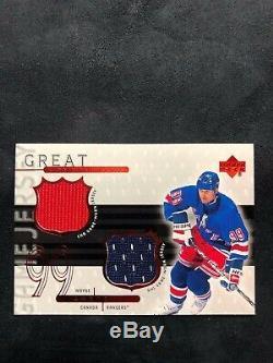 1999-00 Upper Deck Game Jerseys #WG2 Wayne Gretzky Dual /99 Rangers