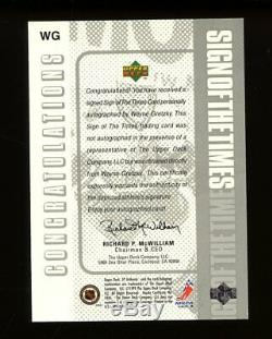 1999 Upper Deck SP Authentic Wayne Gretzky Sign of the Times AUTO