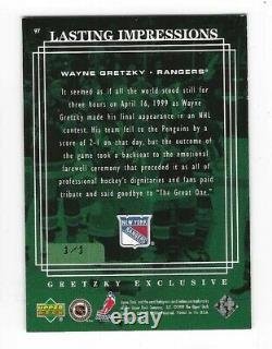 1999 Upper Deck UD Lasting Impressions 97 Wayne Gretzky GREEN # 1/1