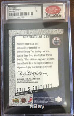 2000 Upper Deck Legends Epic Signatures Wayne Gretzky Oilers Grade 8
