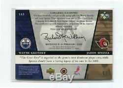 2002-03 Upper Deck Rookie Update #163 Jason Spezza AU RC/Wayne Gretzky AU #/199