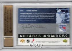 2005-06 Upper Deck Notable Numbers Autograph Auto /99 Wayne Gretzky Bgs 9.5 Rare