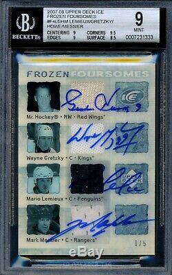 2007-08 Upper Deck Ice Frozen Foursomes Auto Jersey Howe-gretzky-lemieux-messier