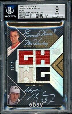 2008-09 Upper Deck Autograph Jersey Patch Gordie Howe, Wayne Gretzky 13/15