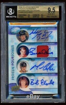 2009-10 Upper Deck Ice Frozen Foursomes Auto Howe Gretzky Lemieux Clarke 4/5