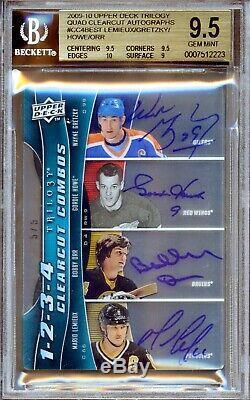 2009-10 Upper Deck Trilogy Quad Clear Cut Howe Gretzky Orr Lemieux 5/5 Autograph