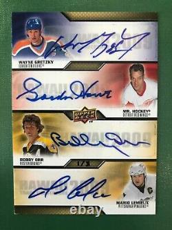2009 Upper Deck Autograph Gordie Howe Bobby Orr Mario Lemieux Wayne Gretzky 1/3