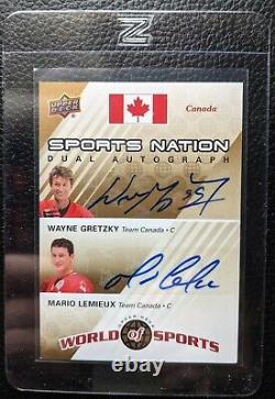2010 Upper Deck Wayne Gretzky Mario Lemieux Dual Autograph Auto Hof #11/25