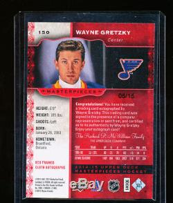 2014-15 Upper Deck Ud Masterpieces Wayne Gretzky Auto 5/15 Red Framed Cloth Rare
