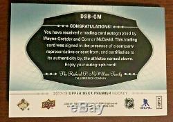 2017-18 Upper Deck Premier Wayne Gretzky Connor Mcdavid Dual Auto Booklet 20/20