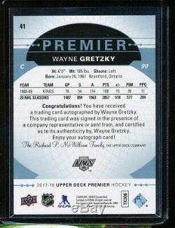 2017-18 Upper Deck Ud Premier Wayne Gretzky Auto 2/5 Platinum Blue Spectrum