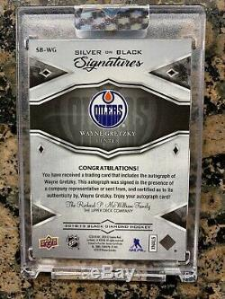 2018-19 Upper Deck Black Diamond Silver On Black Wayne Gretzky Auto #4/10 Sealed