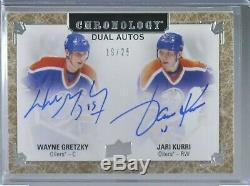 2018-19 Upper Deck Chronology Dual Auto Wayne Gretzky Jari Kurri /25 Oilers