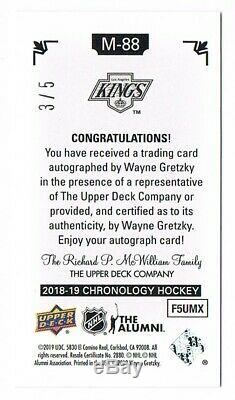 2018-19 Upper Deck Chronology Time Capsules Canvas Mini Auto Wayne Gretzky 3/5