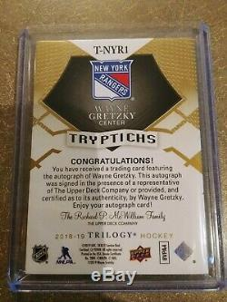 2018-19 Upper Deck Trilogy Wayne Gretzky Tryptichs Auto New York Rangers #4/10