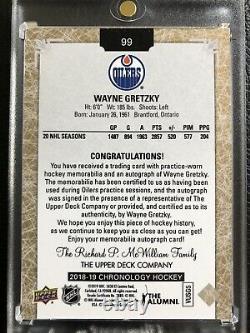 2018-19 Wayne Gretzky Upper Deck Chronology Auto Patch 1/5 Oilers SSP 3 CLR