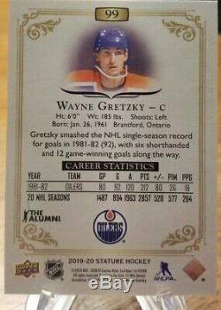 2019-20 Upper Deck Stature Black Parallel Wayne Gretzky Edmonton Oilers Ssp /15