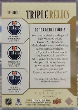 Gretzky / McDavid / Messier 20/21 Upper Deck Trilogy Triple Relics /10