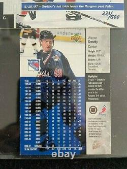 Upper Deck Wayne Gretzky Auto Rangers UD Hologram Game Dated 221/500 Hat Trick