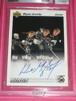 WAYNE GRETZKY Signed 1991-92 UPPER DECK Card #437 Beckett Auto GRADED 10