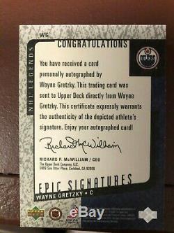Wayne Gretzky 2000 Upper Deck Epic Signatures Mint Nice clean autograph