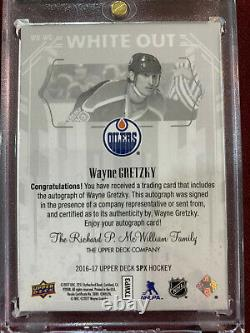 Wayne Gretzky 2016 Upper Deck SPX White Out On Card Auto Rangers Oilers