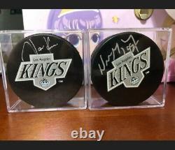 Wayne Gretzky / Jari Kurri LA Kings Autographed Hockey Puck Upper Deck