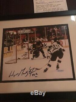 Wayne Gretzky Signed 8x10 Historic Goal, UDA (Upper Deck) COA, Matted/Framed