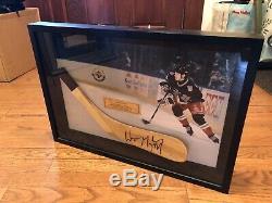 Wayne Gretzky Signed Stick Blade Shadow Box Display Upper Deck Uda #35/199