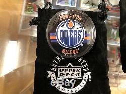 Wayne Gretzky UDA signed RARE Acrylic Oilers Hockey Puck UPPER DECK